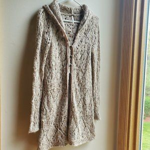 Free People Beige Crocheted Hooded Cardigan Small